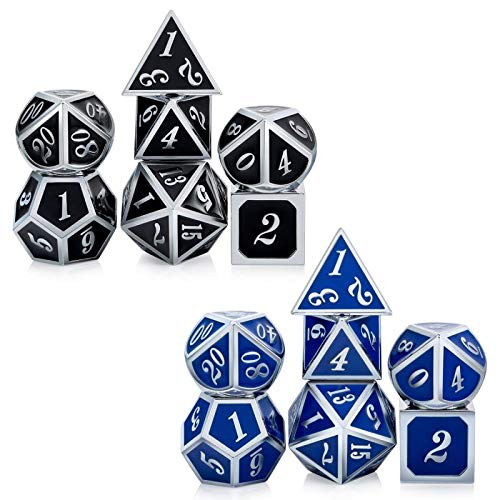 DNDND Color Changing DND Game Dice Set,7 PCS Metallic Die with Free Metal Strorage for Role Playing Games Dungeons and Dragons D&D (Silver Number with Black to Blue)