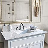 Pannow 37 Inch Vanity Top Stone Carrara White Tops with Undercounter Rectangular Ceramic Bathroom Sink and Back Splash for Bathroom Cabinet Natrual Marble Stone 8 Inch Faucet Holes