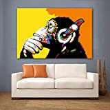 GUDOJK Decorative Paintings Art Wall Decorative Paintings Gorilla Wearing Headphones Wall Art Pictures for Living Room Canvas Print Big Size-70x100cm