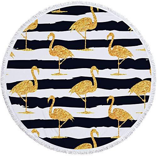 Vanzelu Rundes Strandtuch Flamingo, Mikrofaser Große Handtuchdecke Weich, 150Cm Camping Picknickdecke -N