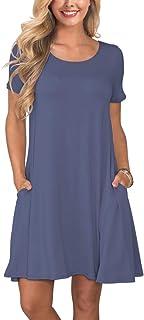 a4c4333da9f1 KORSIS Women's Summer Casual T Shirt Dresses Short Sleeve Swing Dress with  Pockets