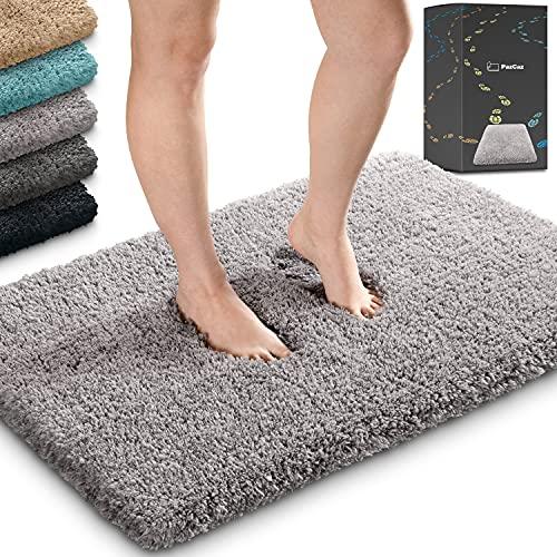 Flauschige Badematten & Badteppiche in Allen Farben 50x80 cm. Ideal geeignet als Badezimmerteppich, WC Vorleger ohne Ausschnitt und Badmatte hochflor. Badematte grau Badteppich grau Badevorleger grau