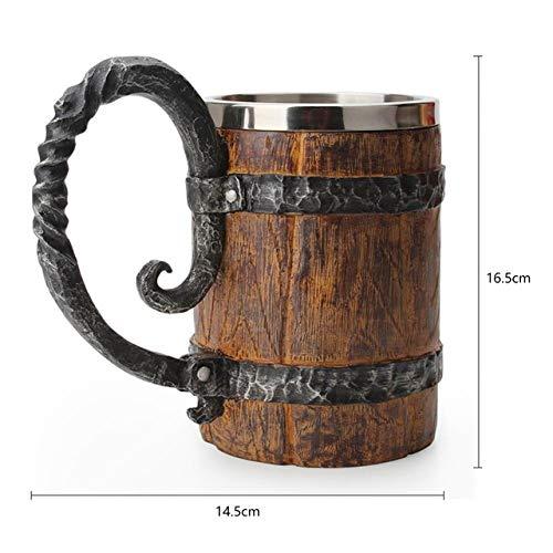 YXDZ Taza de calavera de acero inoxidable Tazas de café vikingas Viaje Cuerno de vikingo Beber Taza de Halloween Decoración Esqueleto Cerveza Stein Hombre Regalos