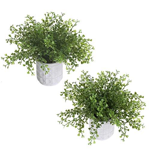 DWANCE 2 Piezas Planta Artificial Hierba Perla con Maceta Planta Artificial Decorativa Verde Planta Falsa Pequeña para Baño Habitación Oficina Cocina