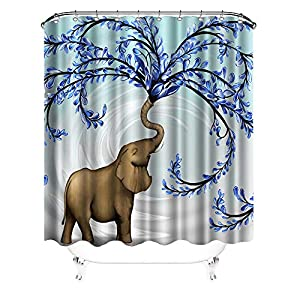 VividHome Animal Shower Curtains Cute Elephant Shower Curtain Set Elephant with Blue Flower Print Design Waterproof Polyester Decorative Bathroom Curtain with Hooks 72x72Inches