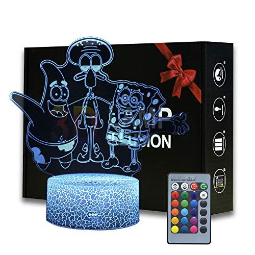 3D ilusión Bob Esponja Squarepants luz nocturna, lámpara de escritorio de dibujos animados con control remoto para niños, decoración de dormitorio, iluminación creativa para niños y Bob Esponja fans