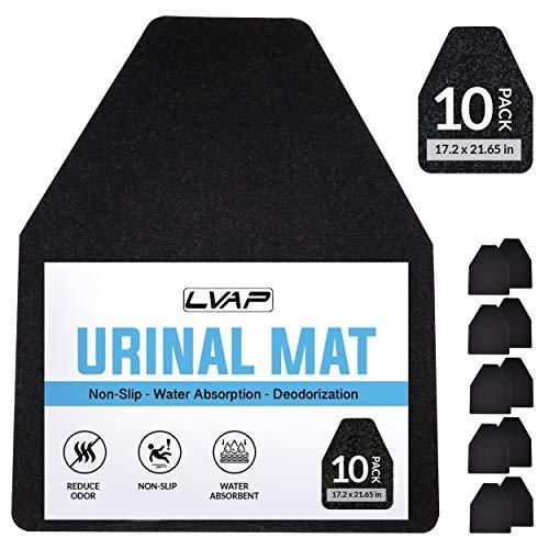 LVAP Urinal Mats (10 Pack) - Mens Urinal Best Uniral Mat.Non-Slip Deodorization Black Floor Water Absorption Urine Mats for Men's Restrooms & Bathrooms