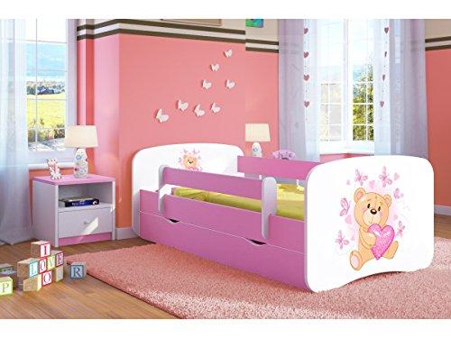 Bjird Kinderbett Jugendbett 70x140 80x160 80x180 Rosa mit Rausfallschutz Matratze Schublade und Lattenrost Kinderbetten für Mädchen - Teddybär mit Schmetterlingen 180 cm