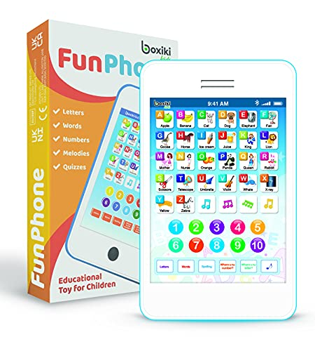 Boxiki kids Kid's Phone with 6 Toddler Learning Games Kids Phones for Boys and Girls, 3 Years Old. Best Gift for Toddlers - Learn Numbers ABC Words & Quiz Game!
