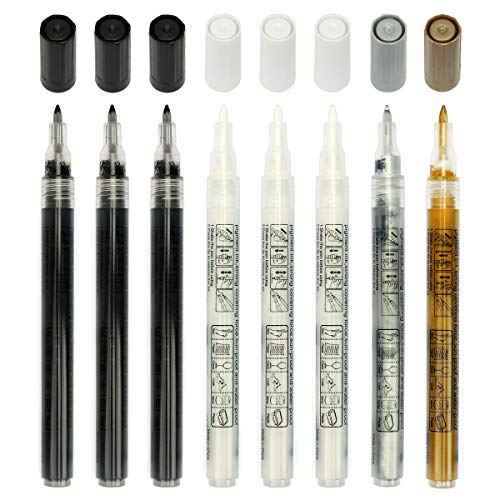 Paint Pens for Rock Painting, Stone, Ceramic, Wine Glass, Wood, Fabric, Canvas, Metal, Scrapbooking. Set of 8, 3 White, 1 Gold, 1 Silver and 3 Black Acrylic Paint Markers Extra-Fine Tip 0.7mm