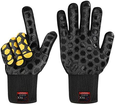 JH Heat Resistant BBQ Glove EN407 Certified 932 F 2 Layers Silicone Coating Black Shell with product image