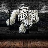 AWER 5 Piezas Modernos Mural Fotos Animal tigre blanco para Salon,Dormitorio,Baño,Comedor Dibujo con Marco Fotografía para Oficina Aniversario