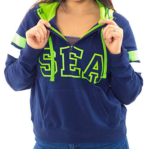 Women's Quarter-Zip Hoodie Sweatshirt with Seattle logo with plus sizes (2XL) Navy