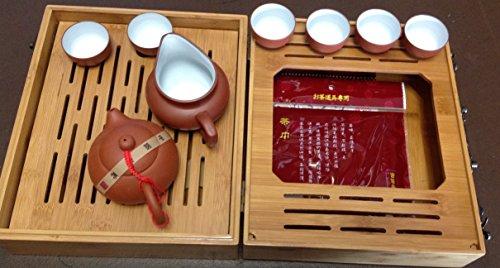Yixing Tea Set Red N White with Travel Bamboo Tea Tray Set 8pcs Best Seller