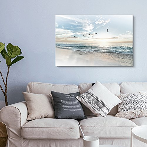 wall26 Canvas Wall Art - Watercolor Style Waves on The Beach with Sea Birds - Giclee Print Gallery Wrap Modern Home Art Ready to Hang - 16' x 24'