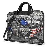 Borsa a tracolla per laptop stampata per motociclette vintage USA, valigetta per borsa a tracolla per laptop