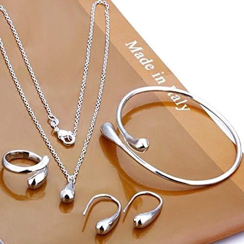 Chainscroll Frauen Modeschmuck Set Silber Wassertropfen Halskette Ohrring Armreif Set Schmuck-Sets