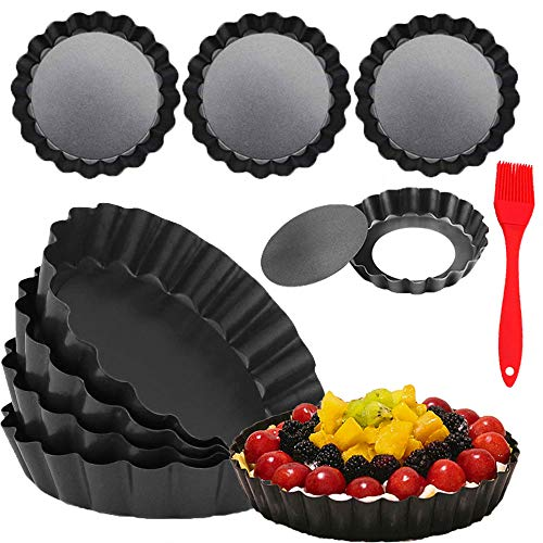 DATANYA 8 Pack Mini Tart Pans 4 Inch with Removable Bottom Round Nonstick Quiche Pan, Heavy Duty Fluted Side for Pies, Mousse Cakes, Dessert Baking (4 Inch 8pcs)