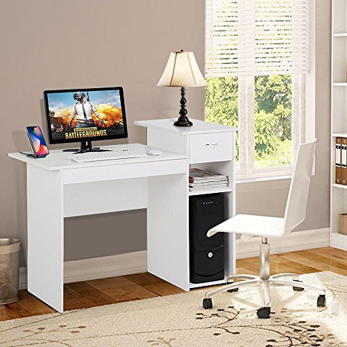 Topeakmart Small White Computer Desk with Drawers and Printer Shelves