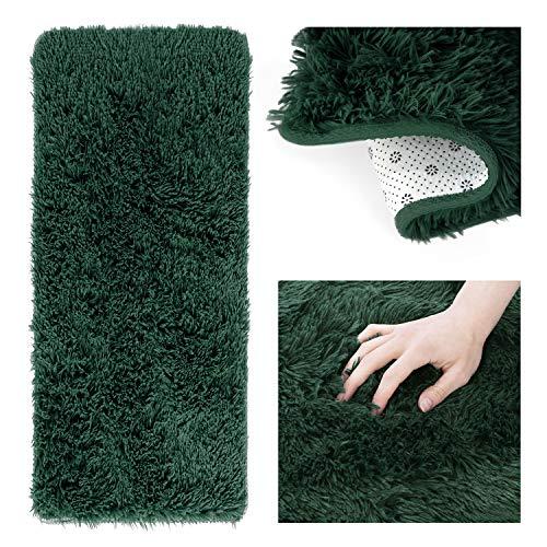 AmeliaHome Alfombra Shaggy de pelo largo, 50 x 160 cm, antideslizante, rectangular, color verde oscuro