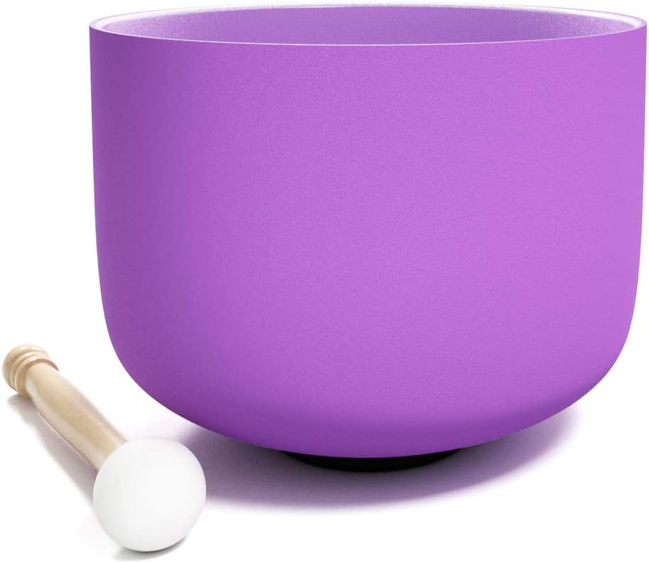 440Hz 20 Cm Tazón De Cristal De Plexo Para Cantar De Cuarzo, Con Junta Tórica Y Mazo De Cristal, Cuenco De Música De Color Esmerilado (20CM, Púrpura)