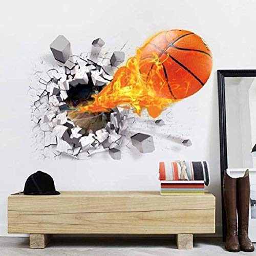 COTTILE Wandsticker 3D DIY for Living Room Self-Adhesive Wall Tattoo Basketball Wall Sticker Living Room Wall Sticker Home Decoration Wall Decoration for Nursery Nursery Baby Bedroom Living Room