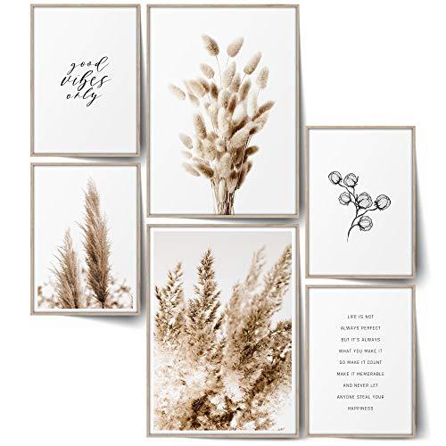 BLCKART Infinity Premium Beige Love Poster Bilder Set Stilvolle Doppelseitige Wendeposter Wohnzimmer Deko Trockene Pflanzen Bild (Beige Love | 6er, S | 2X A4 | 4X A5 | Ohne Rahmen)