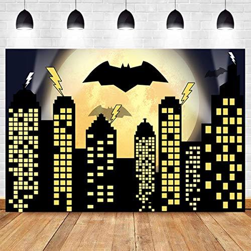Superhero Super City Photography Backdrops Skyline Buildings City Boom Full Moon Bat Photo Background 5x3ft Vinyl Children Birthday Party Banner Photo Studio Booth Cake Table Decor