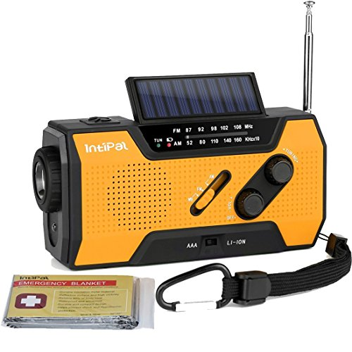 INTIPAL 2000mAh Emergency Solar Hand Crank Radio with AM/FM/NOAA Weather Channel, 1W LED Bright Zoom Flashlight, 4 LED Reading Lamp, Support 4 Ways to Charge - with Emergency Blanket