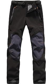 AUtopway Men's Outdoor Softshell Fleece Lined Sports Pants Water-Resistant Windproof Camping Hiking Trekking Trousers