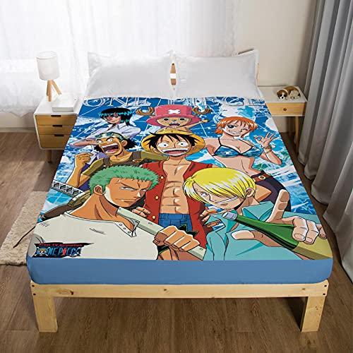 GaoTianyou SábanaAjustable,Pirate Fly Colcha Naruto Dibujos Animados Anime fit sábana Funda de colchón Doble Single King Teen Boy-One_Piece_31P_120cm * 200cm * 30cm