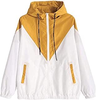 RkYAO Womens Warm Color Block Pocketed Tunic with Hood Bomber Jacket