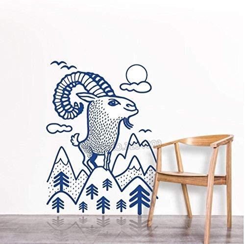 Pegatinas De Pared Calcomanías De Pared De Vinilo De Animales De Cabra Montés De 56X75cm Decoración Para El Hogar Árbol Con Nube Mural De Arte De Pared Para Vivero