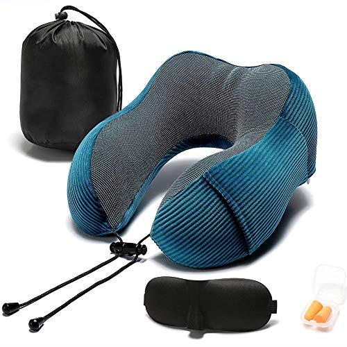 HLPIGF Azul Almohada de Viaje Memory Foam con Soporte para la Cabeza de 360 Grados CóModa Almohada para el Cuello con Bolsa de Almacenamiento para AvióN, AutomóVil y Uso DoméStico