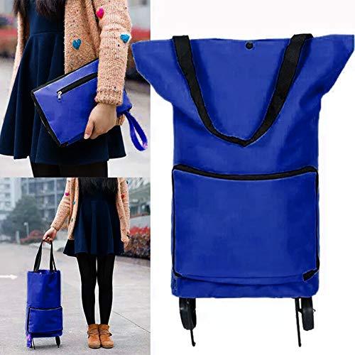 iSpchen Borsa con ruote pieghevole comoda borsa per la spesa con ruote carrello carrello Borsa per alimenti borsa a tracolla valigia portatile e riutilizzabile