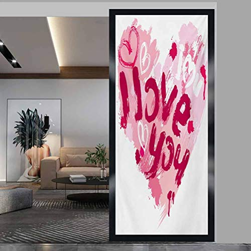 """W 17.7"""" x L 78.7"""" Toilet Privacy Glass Film Window Cling Stickers for Home Decoration,Paintbrush Valentines Message Best Friends Forever February Wedding Engaged Pale Pink Ruby"""