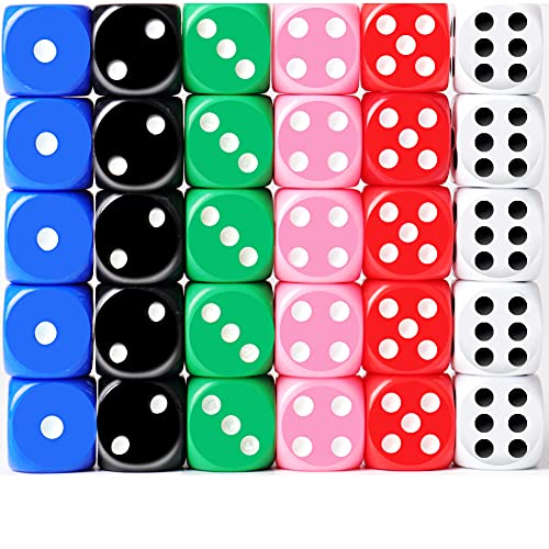 ODSPTER 30x Dice 6 Sided 16mm 6 Colours Spot Dice Set for Dice Games Board...