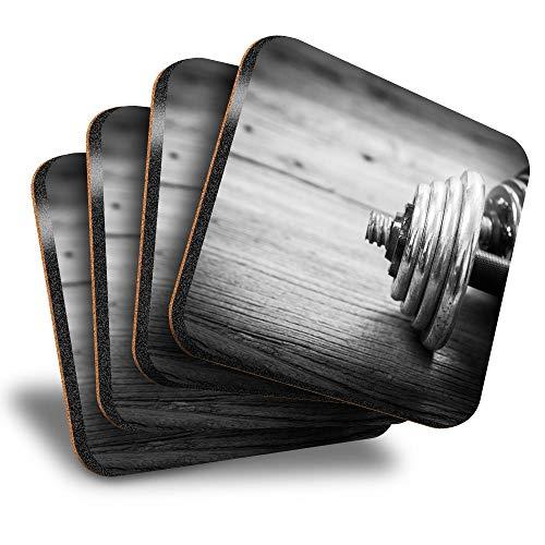Destination Vinyl ltd Great Posavasos (juego de 4) cuadrados – Pesas para gimnasio, fitness, bebidas, posavasos/protección de mesa para cualquier tipo de mesa #12869