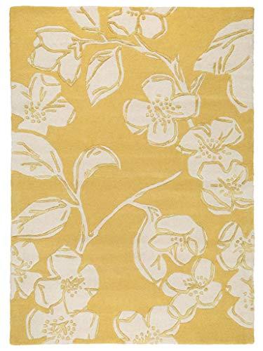Benuta Wollteppich Matrix Devore Gelb 80x150 cm/Naturfaserteppich für Wohnzimmer und Schlafzimmer