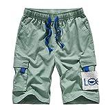 Pantalones Cortos Sueltos con Tendencia de Verano para Hombre, Monos Informales con cordón de Cintura elástica de Gran tamaño con múltiples Bolsillos y Costura 4XL