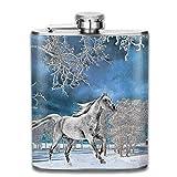7 oz frasco de acero inoxidable hermoso caballo blanco arte pintura moda portátil de acero inoxidable hip matraz botella de whisky para hombres y mujeres 7 oz