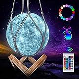 JBHOO Nuevo Lámpara de Luna 3D 16 Color LED Recargable Luz Mercurio, 15cm Lampara Mercurio con Soporte de Madera y red Colgante, Control Remoto y Control Táctil para Bebés, Amigos