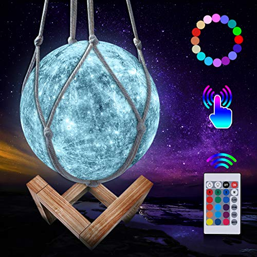 Mond Lampe, LED 3D Wiederaufladbares Merkur Lampe, 16 Farben Dimmbare Nachtlicht Lampe Fernbedienung und Touch Steuerung, mit Holzständer und hängendem Netz (15 cm)