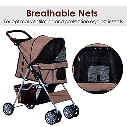 PawHut Pet Stroller Cat Dog Basket Zipper Entry Fold Cup Holder Carrier Cart Wheels Travel Brown 7