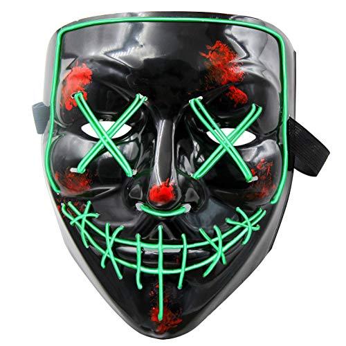 MeiGuiSha LED Maske Purge Maske mit 3 Blitzmodi für Halloween Fasching Karneval Party Kostüm Cosplay Dekoration Halloween Gruselige Maske(Blau), Grün