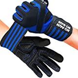 Fitness Gloves Men Women Workout Full Finger with Wrist Strap Support, Padded Grip for Weight Lifting Gym Training… (Blue, M)