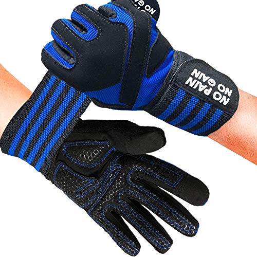 Weight Lifting Gloves Men Women Full Finger With Wrist Support Fitness Gym Workout Cycling Touchscreen Value Pair, Gloves Breathable Anti Slip Palm Gel Padded Grip For Bodybuilding (S, Dark Blue)