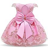 TTYAOVO Bébé Filles Broderie Dos Nu Princesse Robe de Soirée d'anniversaire 12-24 Mois(Taille90) 716 Rose