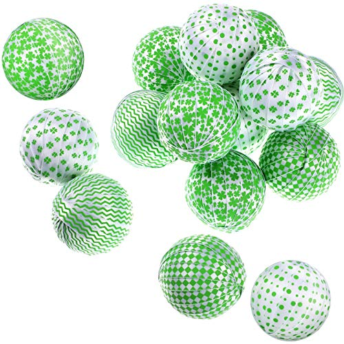 St Patrick's Day Shamrocks Fabric Wrapped Balls Bowl Filler Green Buffalo Check Fabric Wrapped Balls for Table Shelf Festival Decorations (12)