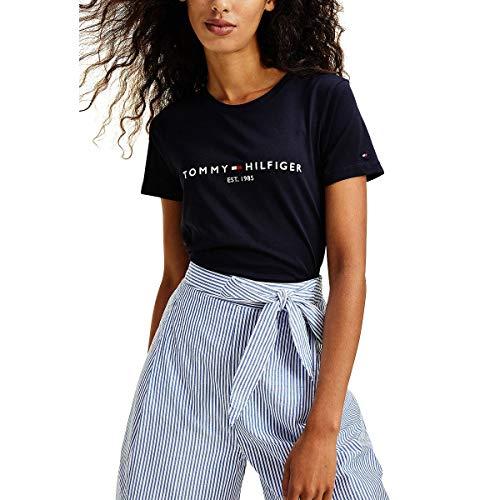Tommy Hilfiger TH ESS Hilfiger C-NK REG tee SS Camiseta sin Mangas para bebés y niños pequeños, Cielo del Desierto, M para Mujer